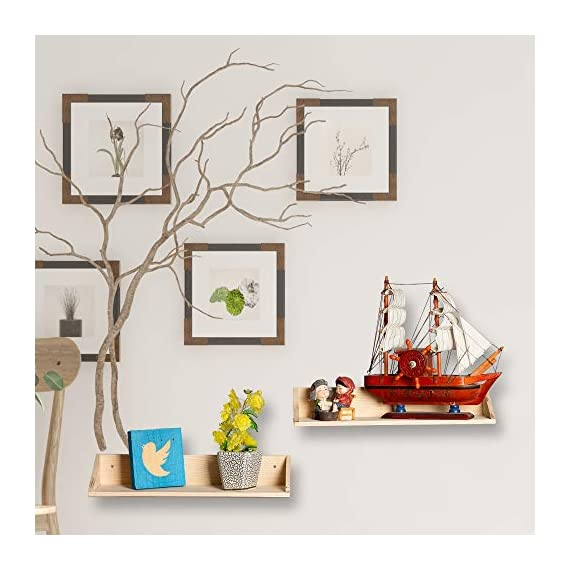 [Set of 2] Floating Shelves Wall Mounted 2 Display Ledge Shelf with Bracket for Pictures + Audio + DVD + Frames Modern Home Decorative Collectibles, and Much More - ✔️HIGH-QUALITY MATERIAL: the Floating shelves Made of high-grade melamine faced panels, with the wear resistance and durable, excellent stain resistance, good breath-ability, anti-stripping, Eco-friendly spray painted finish which makes it easy to clean ✔️HOME DECORATIVE: Great for home, office & dorm, Decorative and functional. This Floating shelf can be used to hang photos or plants in the living room, hold beauty products in the bathroom. ✔️SPACE-SAVING: This wall mounted floating shelf is suitable for holding books, phones, wallet, keys, and any other small items, which is perfect for saving your room space - wall-shelves, living-room-furniture, living-room - 51nxWCnjz4L. SS570  -