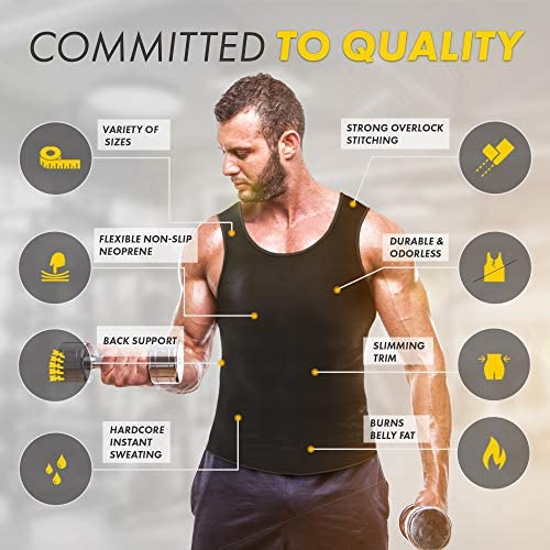Sweat Vest for Men - (XS-10XL) - Advanced Weightless Neoprene Sauna Shirt – Increase Your Workout Motivation - Designed in The USA 3