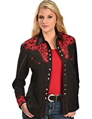 Scully Womens Silver Western Embroidered Shirt - Pl654-Slv