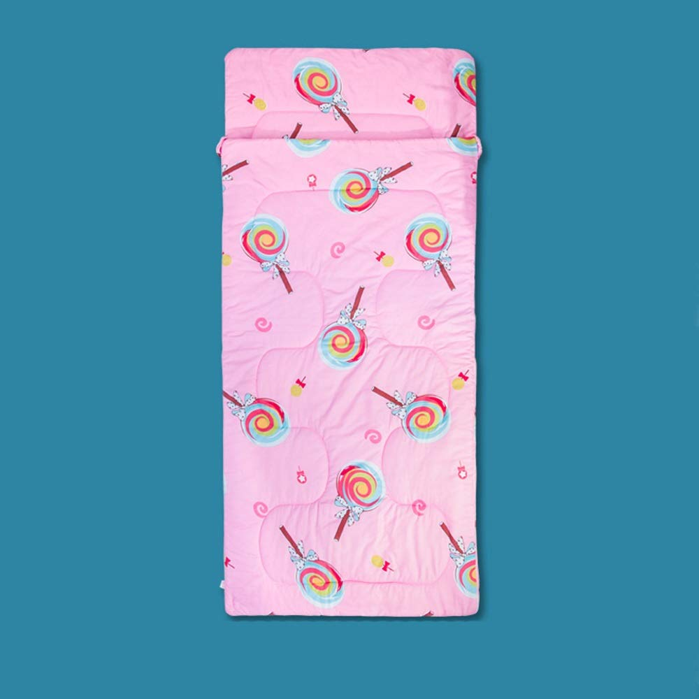 Sleeping Bag - Sanding/Hollow Cotton, Youth Winter Lunch Break Single Multi-Function Anti-Kick Cartoon Cotton Sleeping Bag, Suitable for: Indoor Lunch Break - 6 Colors Optional (Color : D)