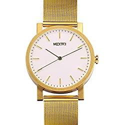 MEDOTA Stainless Steel Waterproof Watch Umbra Series Swiss Watch Quartz Mens Watch - No. 21204 (Gold)