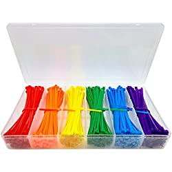 """Lenitech 4"""" Multi-Purpose Cable Ties (600 Piece), Assorted Colored"""