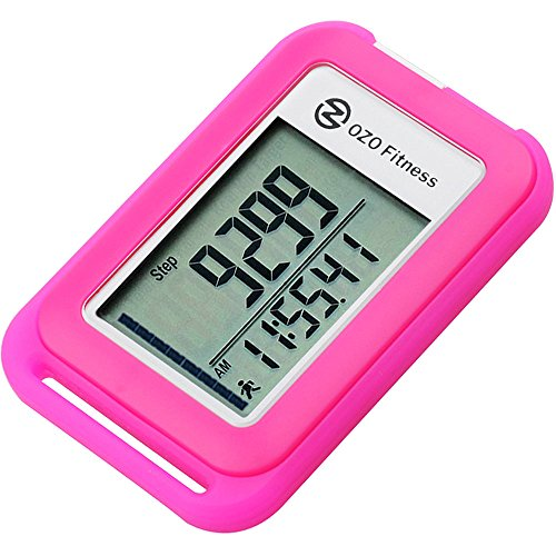 OZO Fitness SC 3D Digital Pedometer | Best Pedometer for Walking. Track Steps & Miles, Calories & Activity Time. Clip on Step Counter for Men, Women & Kids (Lanyard included) (Pink)