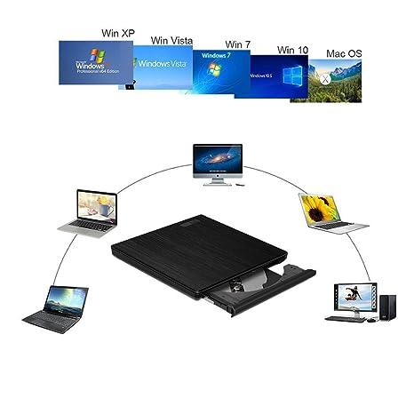 WZHESS Unidad de CD DVD Externa portátil, USB 2.0CD DVD con ...