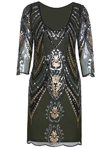 Vijiv 1920s Flapper Dress with 3/4 Sleeve V Neck Squins Cocktail Gatsby Dresses -