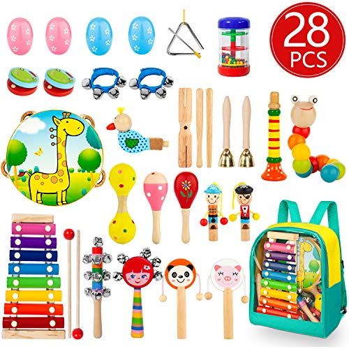 AOKIWO Toddler Musical Instruments, 28Pcs 19Types Wooden Percussion Instruments Toys for Kids Children, Preschool Educational Learning Musical Toys Set for Boys Girls with Storage Backpack