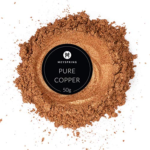 MEYSPRING Pure Copper Epoxy Resin Color Pigment - 50 Grams Jar Mica Powder for Epoxy and Resin Art - Lumps Free - Create Cells Without Resin Blast - Great for Art Resin, Ecopoxy, UV Resin