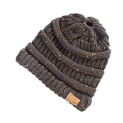 - HGWXX7 Women Warm Baggy High Bun Ponytail Crochet Knit Artificial Wool Winter Ski Beanie Skull Caps Hat(One Size,Dark Gray)