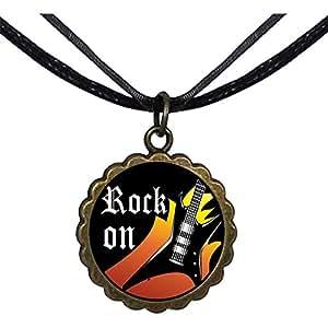 Chicforest Bronze Retro Style Music Theme Rock On Round Flower Pendant Pendant Necklaces