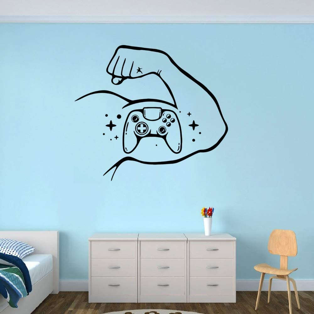 WWYJN Home Art Decoration Game Rocker Muscle Hand Vinyl Wall Decal Game Wall Art Mural Design Sports Mural Blue 64x57cm: Amazon.es: Hogar