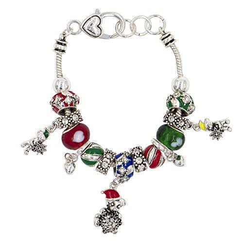 DennyBlaine & Co. Christmas Charm Glass Bead & Rhinestone Bracelet (Teddy Bear (Adorned Teddy Bear Charm)