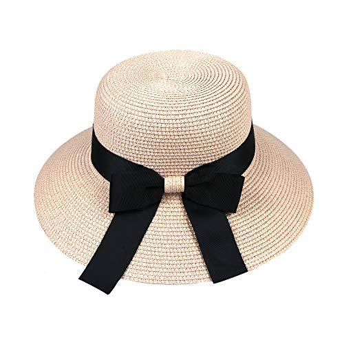 Cap,Longay Spring and Summer Foldable Wide Brim Sun Visor Fisherman Straw Hat (Pink) -