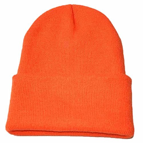 (Clearance! iYBUIA Unisex Slouchy Knitting Beanie Hip Hop Cap Warm Winter Ski Hat(Orange,One Size))