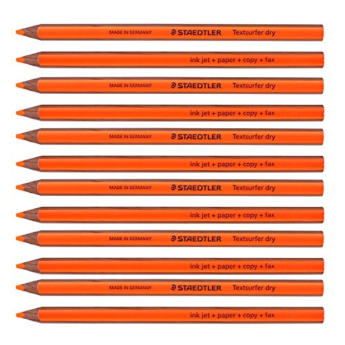 Staedtler Textsurfer Dry Highlighter Pencil 128 64 Drawing for Writing Sketching Inkjet,paper,copy,fax (Pack of 12 Orange) Photo #4