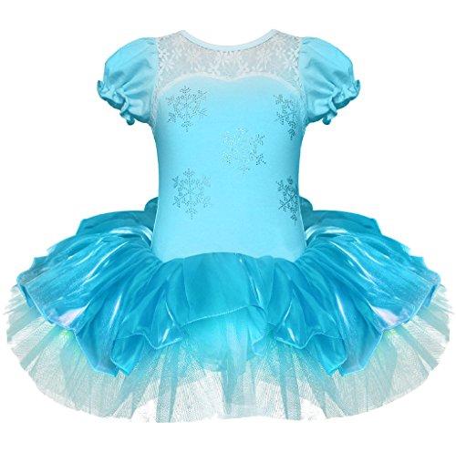 Girls Elegant Snowflake Princess School Ballet Dance Wear Party Dress 4T Blue