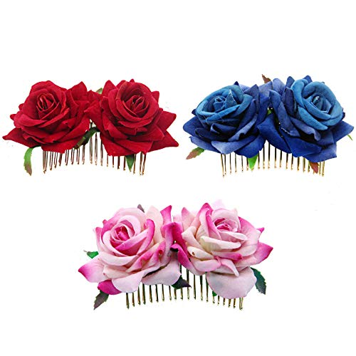 Rose Hair Accessories, Flannel Rose Hair Comb, Red Rose Flower Fork Comb for Party Wedding Banquet ()