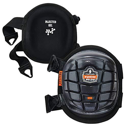 Ergodyne ProFlex 355 Professional Knee Pads, Protective Short Cap, Injected Gel Padded Technology, Adjustable Straps, -