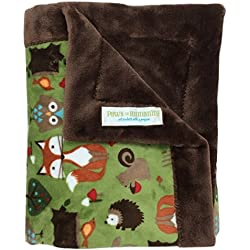 "Paws For Humanity Woodland Creatures Minky Blanket for Dogs ~ Cuddly Small Double Thickness 26"" x 30"" ~ for Puppies, Toy Breeds, Dog Stroller, Carrier, Sling, Crate, Car and Lap ~ USA Made"