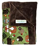"""Paws For Humanity Woodland Creatures Minky Blanket for Dogs ~ Cuddly Small Double Thickness 26"""" x 30"""" ~ for Puppies, Toy Breeds, Dog Stroller, Carrier, Sling, Crate, Car and Lap ~ USA Made"""