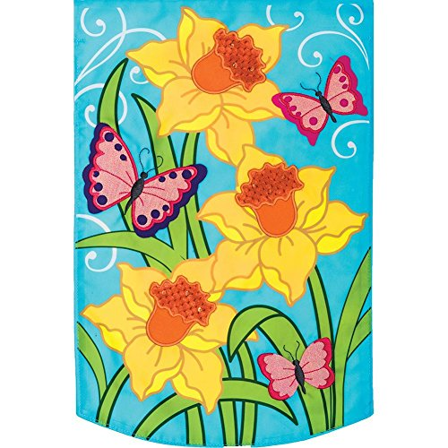 Daffodils - Garden Size, Emboidered Applique Style, Double Sided Decorative Flag - Approx. 12 Inch X 17.98 Inch