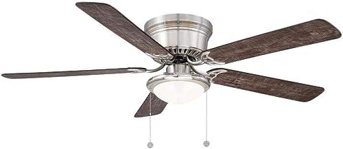 Hugger 56 in. LED Indoor Brushed Nickel Ceiling Fan