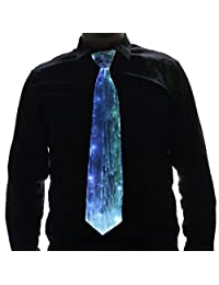HolyThreads! Fiber Optic Tie (White Tie, 7 Colors) - Light Up Tie - Glow Tie