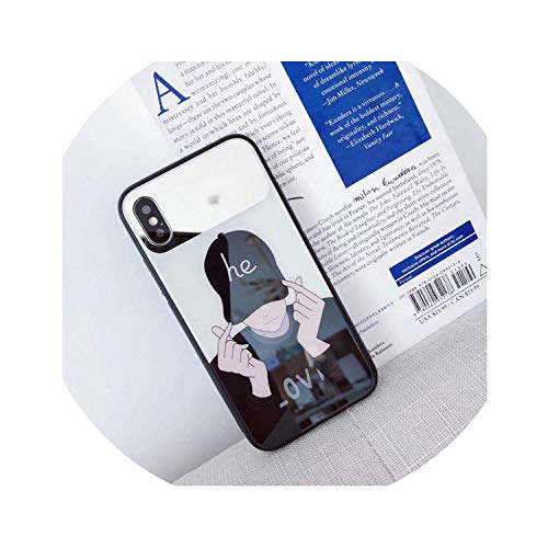 Mirror Tempered Glass Phone Case for iPhone X XS Max Cartoon Full Protective Glass Cases for iPhone 7 8 Plus 6 6s XR Cover Coque,Cool Boy,for iPhone Xs Max