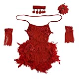 SODIAL(R) New Children Kids Sequin Feather Fringe Stage Performance Competition Ballroom Dance Costume Latin Dance Dress For Girls Red,L
