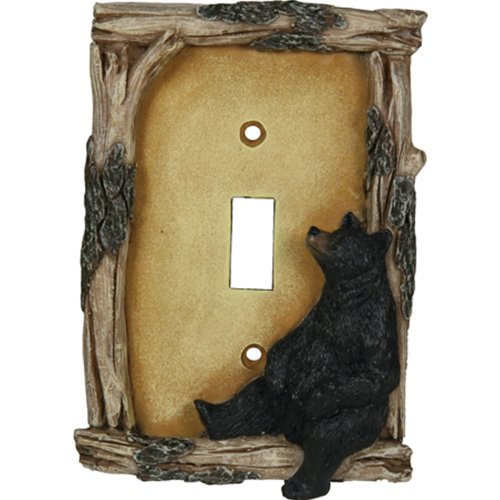 Rivers edge products bear single switch electrical cover for Rustic bear home decor