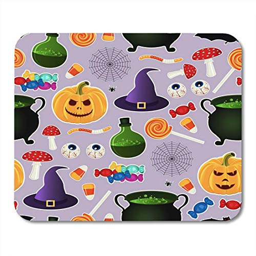 BGLKCS Colorful Related Halloween Holiday Object Silhouettes on Purple Traditional Witches Attributes Bright Mouse Pad 8.6 X 7.1 in]()