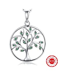 Best Valentine Gift-Tree Necklace-Women Giving Tree of Life Pendant Necklace- YL 925 Sterling Silver Green Tree Branch Necklace-Mother's Valentine's Day Family Tree of Life Necklace for Men