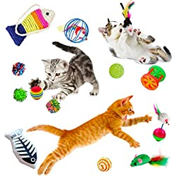 Cat Toy Variety Pack (20 pcs) - Activity Set of Mylar Balls, Chew Toys, Catnip Pouches, Play Mice & Bells - Assorted Colors, Shapes & Sizes - Great for Persians, Maine Coons, Calicos & Tabby Cats