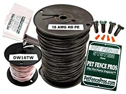 Pet Fence Pros 1000\' ProGrade HD Complete Boundary Kit 16 Gauge AWG PE for Underground Hidden Dog Fence