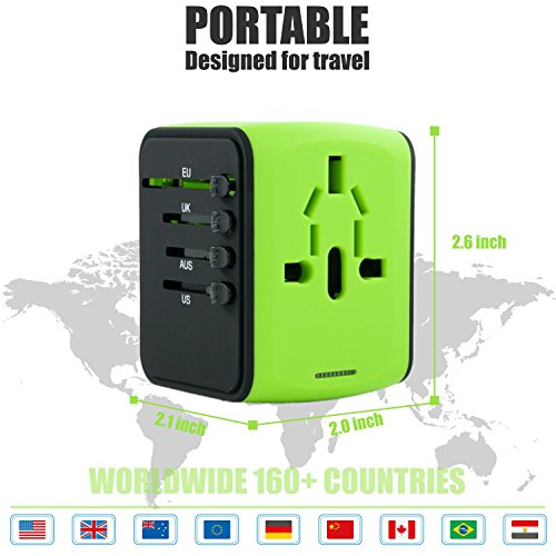 International Travel Adapter Universal Power Adaptor European Plug Converter Worldwide All in One with 2.4A 4 USB Ports and AC Socket US to Europe Plug Adapters for UK USA American EU AUS Asia (Green) by Limechoes (Image #5)