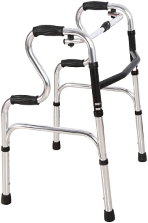 Walker de edad avanzada Asa ajustable Walker plegable Roller Walker, Aleación de aluminio engrosada más antigua Andador de asistencia para caminar con cuatro patas discapacitado Andador de edad