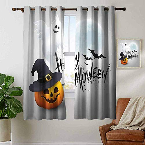 petpany Light Blocking Curtains Halloween,Happy Celebration Typography Stained Look Cute Ghost Pumpkin Hat Print,White Black Orange,for Bedroom, Kitchen, Living Room 42