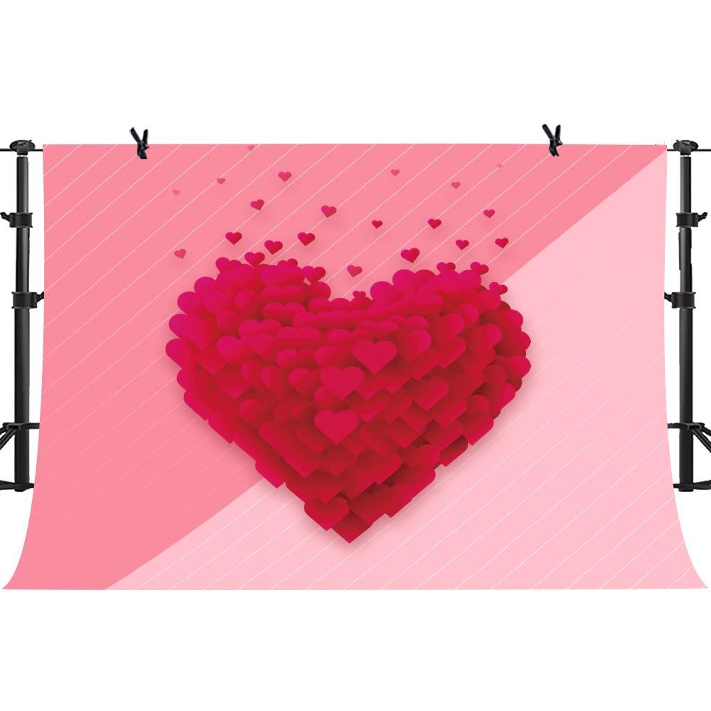 PHMOJEN ピンク パープル ハート 写真 背景 ホワイト ストライプ ピンク 背景 バレンタインデー 恋人向け ビニール 10x7フィート バナー 写真ブース 小道具 HXPH033   B07MQRW91Y