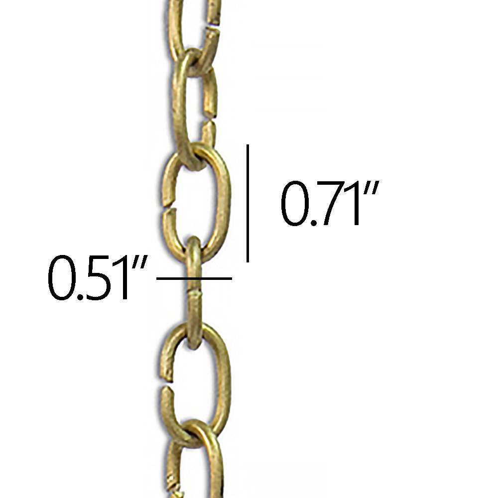 RCH Hardware CH-06-AD-3 Decorative Solid Brass Chain for Hanging Light Oval Unwelded Links-Acid Dipped Finish 3 ft//1 Yard