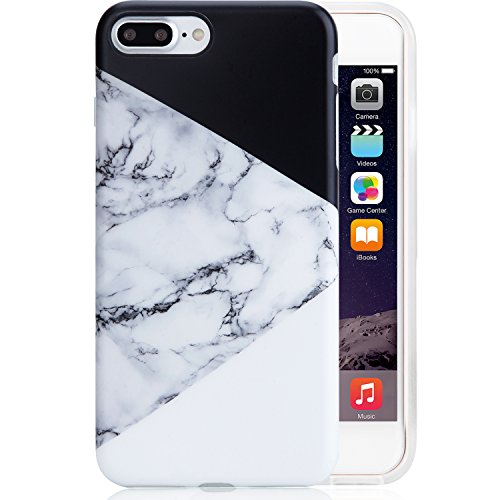 iPhone 7 Plus Case Black and White, VIVIBIN Anti-Scratch Shock Proof TPU...