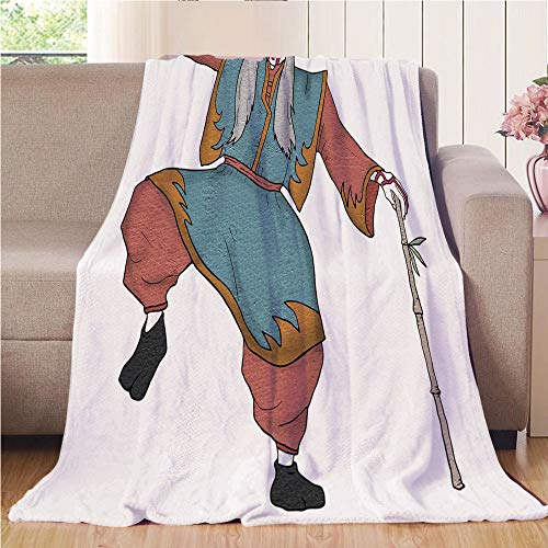 Blanket Comfort Warmth Soft Cozy Air Conditioning Fleece Blanket Perfect for Couch Sofa Or Bed,Kabuki Mask Decoration,Cultural Asian Character Posing Traditional Hat Makeup and Costume Decorative,Mult for $<!--$60.88-->