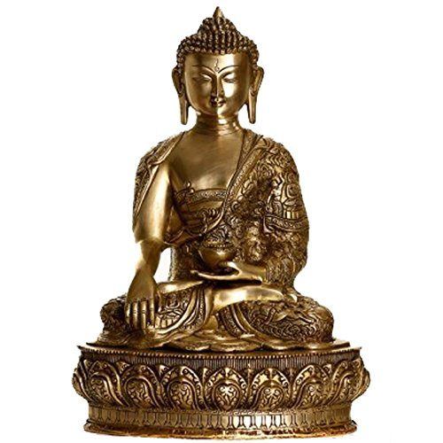 Idol Collections Earth Touching Buddha Brass Statue, Brown