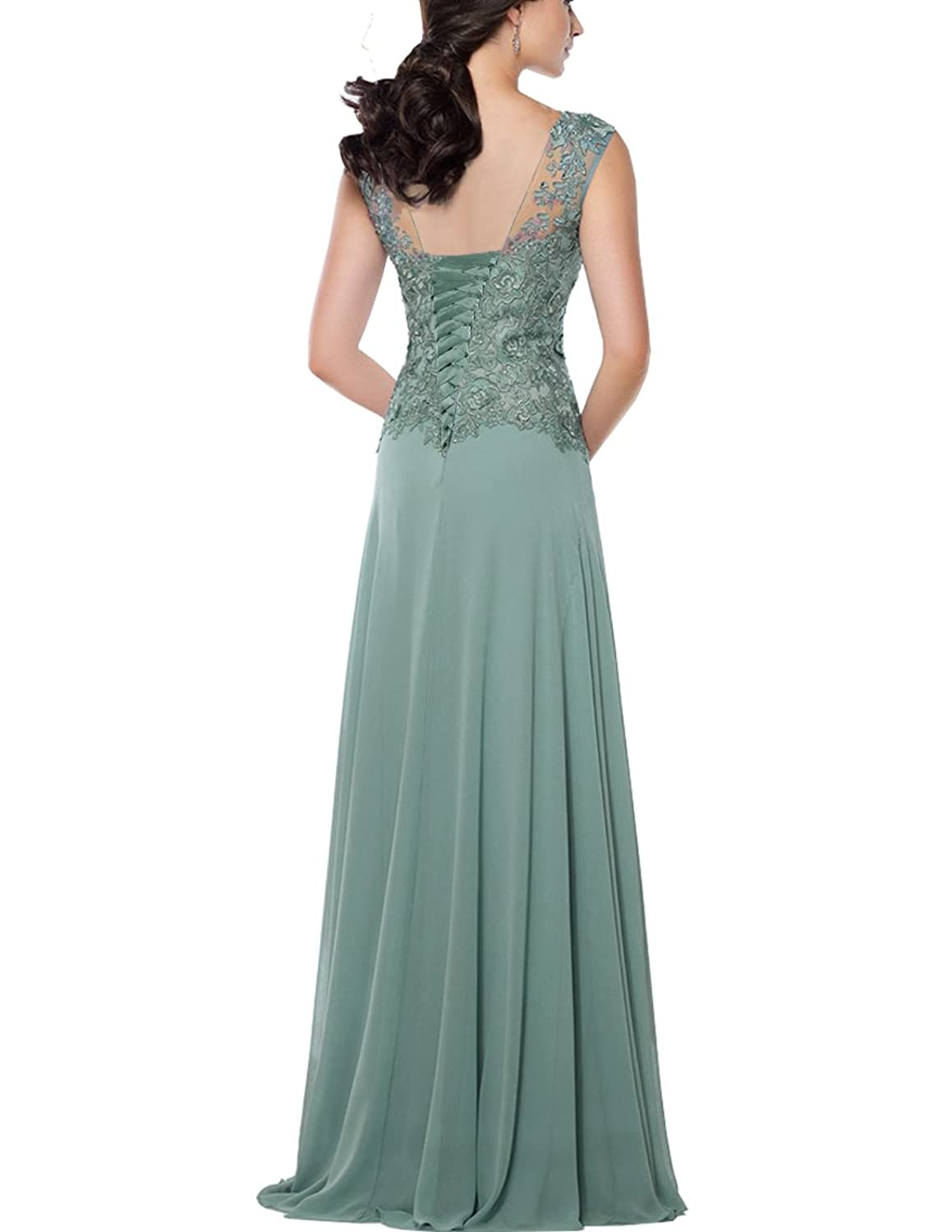 Alinafeng Dress Womens V Neck Lace Chiffon Mother of the Bride ...