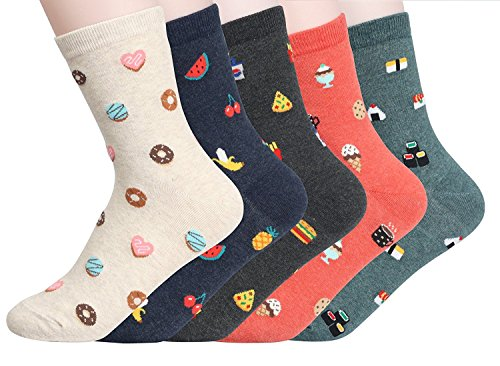 Womens Crew Socks 5 pack,Fun cartoon animal designed,cotton blend by Happytree(Food Porn)One size -