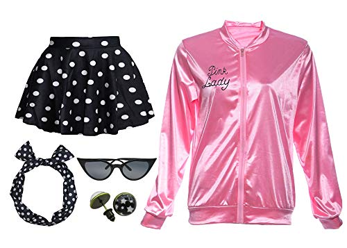 Rhinestone Pink Ladies Satin Jacket with Neck Scarf T Bird Women Danny Halloween Costume Fancy Dress