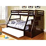 1PerfectChoice Ellington Twin over Full Bunk bed Built in Storage Staircase Stairway Espresso