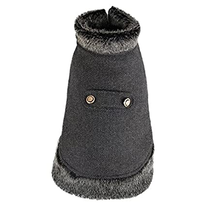 Abrigo para perros gris tipo capa Nobleza, largo 40cm. Envío gratis.