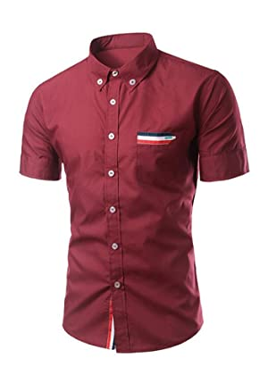 Louis Rouse Mens Casual Short Sleeve Slim Fit Shirts Business Dress Shirt (XS, Red)