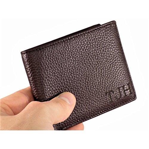 Engraved Leather Wallet - RFID Blocking, Laser Engraved Genuine Leather Bifold Men's Wallet, Christmas Gifts For Him