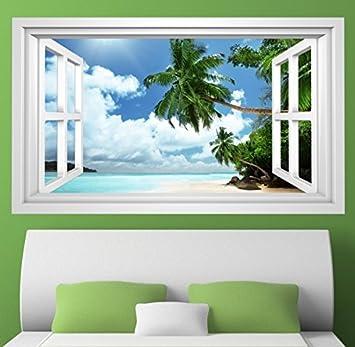 3D Wandmotiv Strand Palme Sand Urlaub Meer Fenster Wandbild Wandsticker  Wandtattoo Wohnzimmer Wand Aufkleber 11E396,