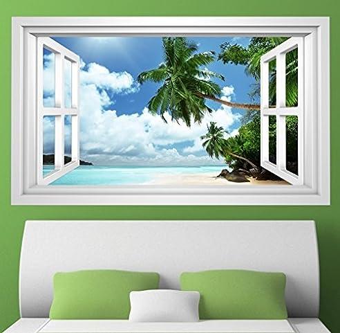 3D Wandmotiv Strand Palme Sand Urlaub Meer Fenster Wandbild Wandsticker Wandtattoo Wohnzimmer Wand Aufkleber 11E396